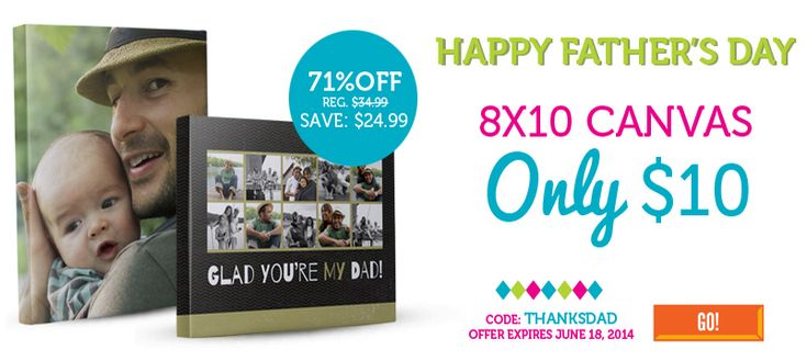 This 8x10 Photo Canvas Deal will make for a perfect father's day gift! Grab this deal for just $10 when you checkout with coupon code THANKSDAD at YorkPho
