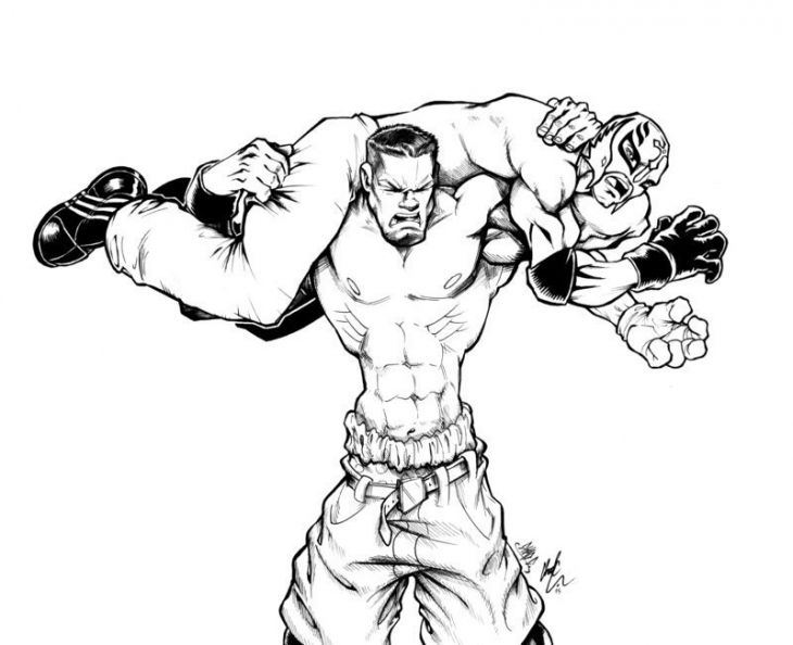 John Cena Vs Rey Mysterio In Wwe Coloring Pages Sports