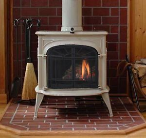 Vermont Castings Intrepid Direct Vent Gas Stove Biscuit Enamel NG or LP White