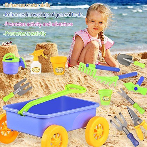 #beachaccessoriesstore Garden Wagon Tools Toy Set for Kids - Includes 8 Gardening Tools, 4 Pots, Water Pail and… #beachaccessoriesstore