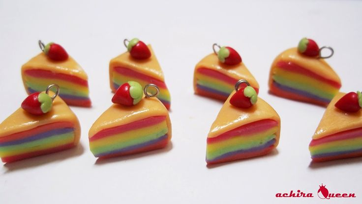 Rainbow cake chain, made with air dry clay.