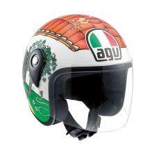 Casque Agv Kid Valentino's House Blanc #Casque #Speedway #enfant #orange #vert #moto #scooter