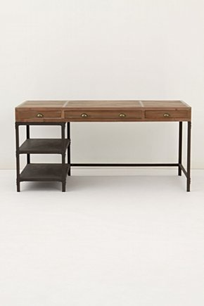 love this simple desk. Wood and metal. Like the side shelves and simplicity