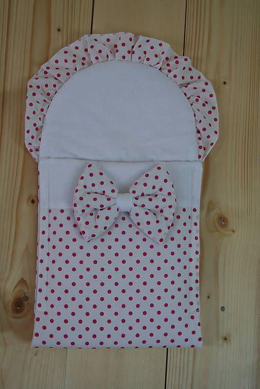 Matajka / Zavinovačka pre bábiku - biela s ružovými bodkami