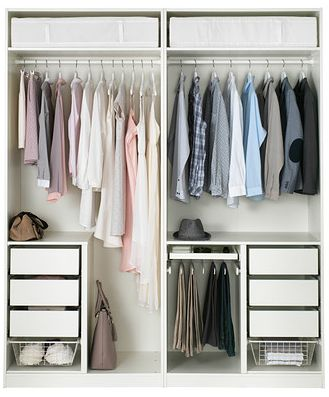 633.-Ikea Pax wardrobe with a side for her and a side for him