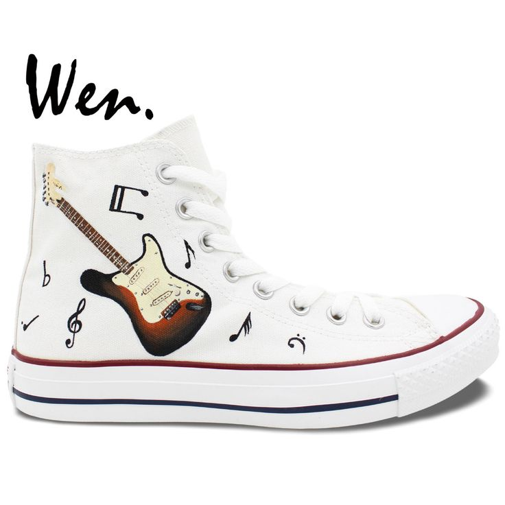 Wen Original Hand Painted Sneakers Design Custom Music Notation Guitar High  Top Men Women's Canvas Shoes