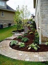 Tons of landscaping ideas - I like this curved pathway and plant layout for a sideyard path the backyard.
