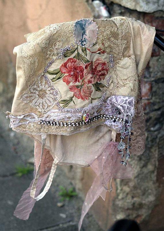 Bouquet  rustic antique  tunic chemise nuisette by FleursBoheme
