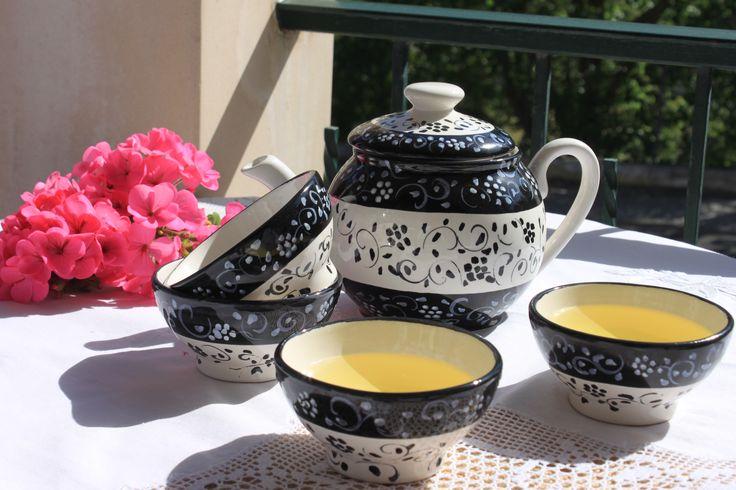 Handmade ❀ Panda - Conjunto de chá em faiança pintado à mão, elaborado em fábrica local e familiar. Decorado a preto, desenho muito atrativo. Inspired by Lemon