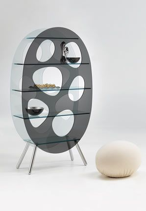 'Lotus' Display unit in acid, smoked and tempered glass. Polished aluminium legs.