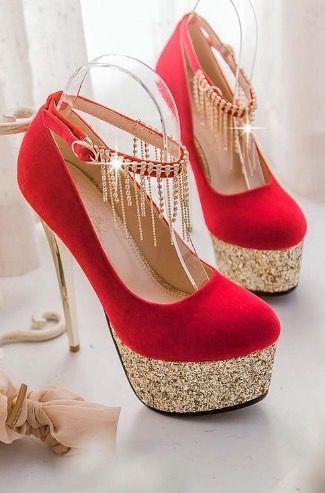 Elegant Rhinestone Embellished Metallic High Heels #shoes #heels #fashion