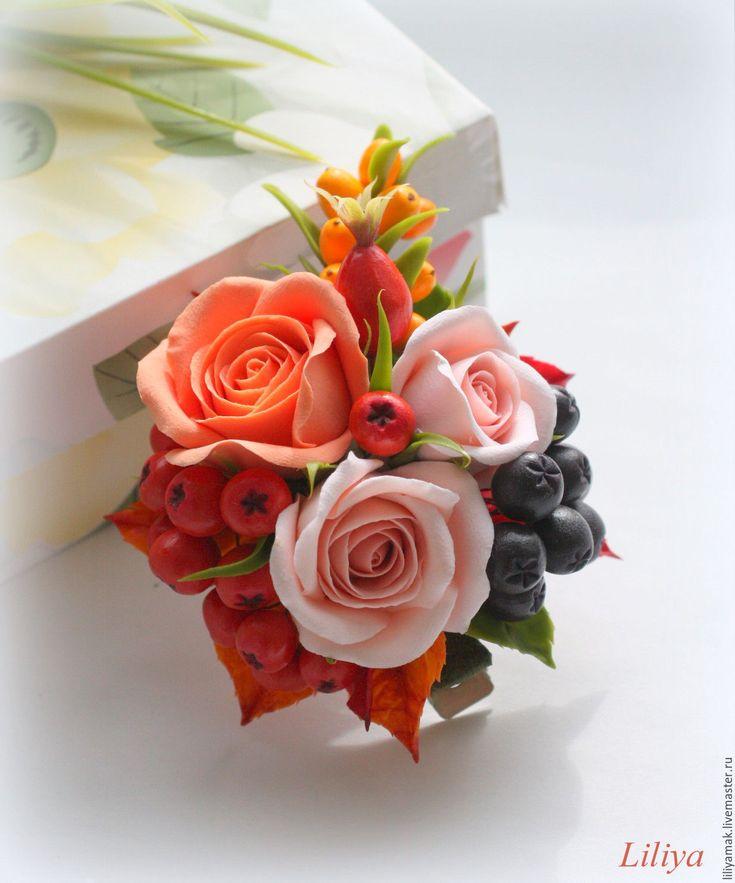 """Купить Зажим для волос """"Краски осени"""" - комбинированный, зажим с цветами, цветы и ягоды, заколка для волос"""