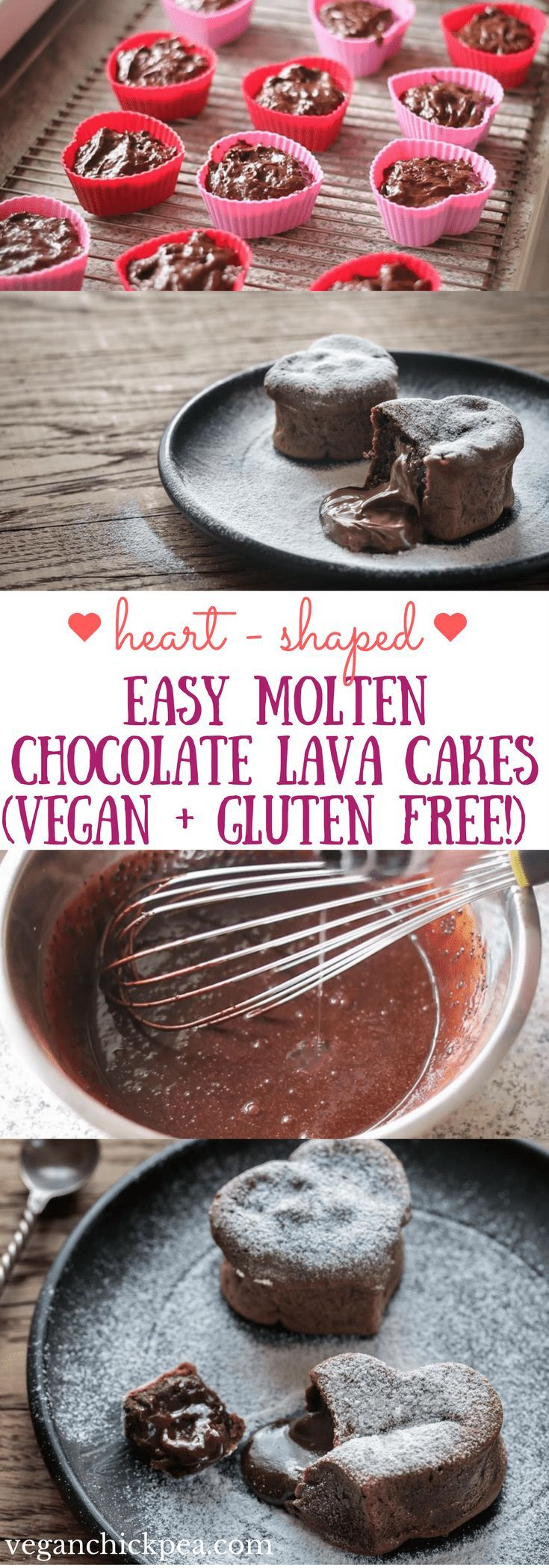 Perfect for Valentine's Day (or any day!), this vegan and gluten free Easy Molten Chocolate Lava Cake recipe will impress your dinner guests or special someone with their beautiful heart shape and warm gooey center! With only 10 ingredients and 30 minutes to prep and cook, you'll have a simple yet elegant dessert in no time. #valentinesday #dessert #vegan #glutenfree