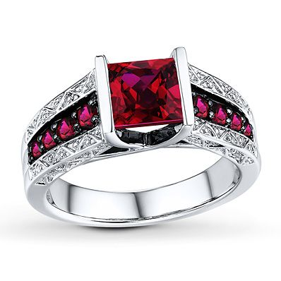 Lab-Created Rubies Square-cut Sterling Silver Ring