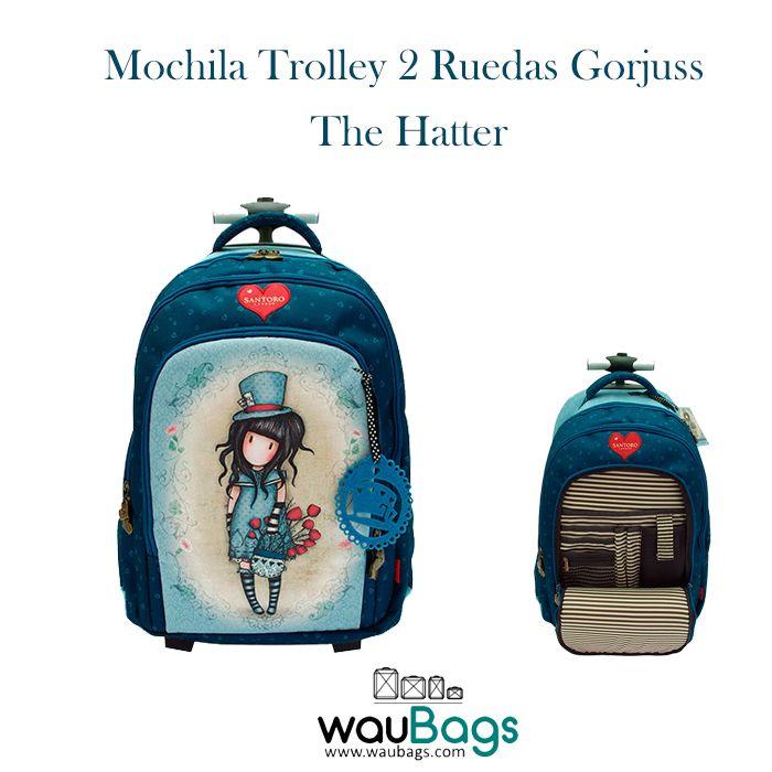 """Mochila Trolley 2 Ruedas Gorjuss """"The Hatter"""", por tan solo 107€ con gastos de envío gratis!!  ¡Puede llevarse en la espalda como una mochila gracias a sus dos asas acolchadas, dispone de un compartimento trasero para guardar los tirantes y tambien la puedes usar como un carro gracias a su trolley extensible que permite llevarla cómodamente!  @waubags #gorjuss #santorolondon #trolley #mochila #carro #escolar"""