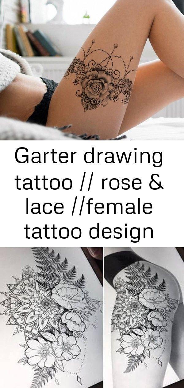 Garter Drawing Tattoo Rose Lace Female Tattoo Design Available For Tattoo 1 Rose Tattoos Female Tattoo Tattoo Drawings