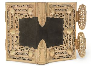 rare gold antique bookbinding, c. 1780-1800, either Dutch or German, fitted with book Sefer Keritut, printed by Francesco Rossi, Verona, Italy, 1647