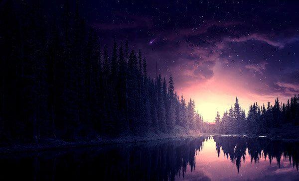 Создаем в Фотошоп звёздную ночь в лесу