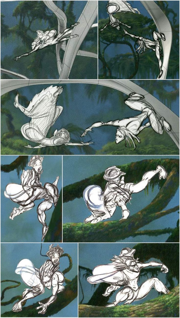 Living Lines Library: Tarzan - Storyboards, Storyboard Sketches- Shapes and lines create a great amount of movement. Contrast gives prominence to the figures.