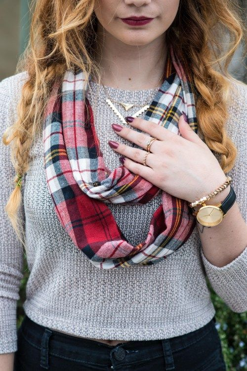 Fall Essentials: Booties and Scarves - plaid scarf, nixon watch, triangle necklace, boho hair, fall trends, fall 2014, forever 21 sweater, BDG pants, green clutch, steve madden booties, buckle booties, fashion blog post by ellie connard, long hair LONGHAIRAFFAIR.COM