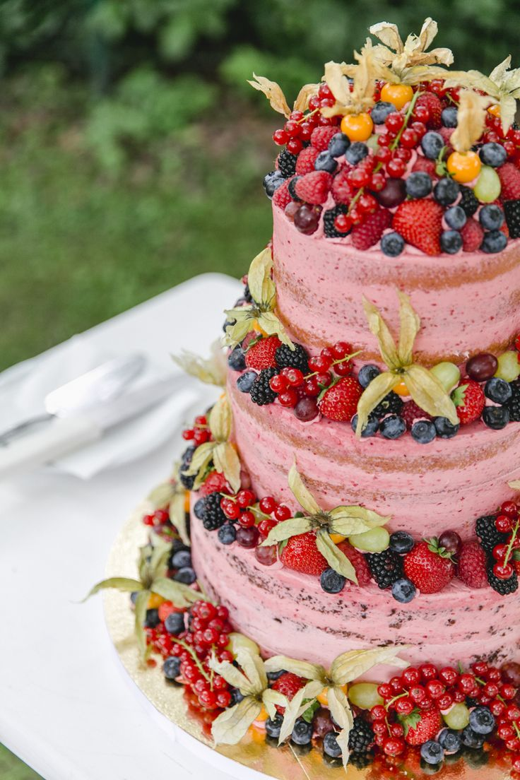 Beautiful Naked Wedding Cake. Source: Honeywell Bakes Via Wine and ...