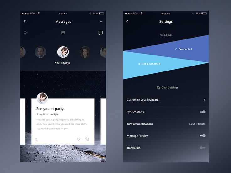 Demo screens for a chat app (Dark Version)