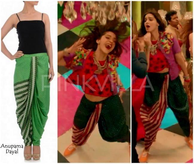 Sonam Kapoor, in 'Abhi Toh Party Shuru Hui' video from the movie Khoobsurat, wearing Anupama Dayal printed dhoti pants.