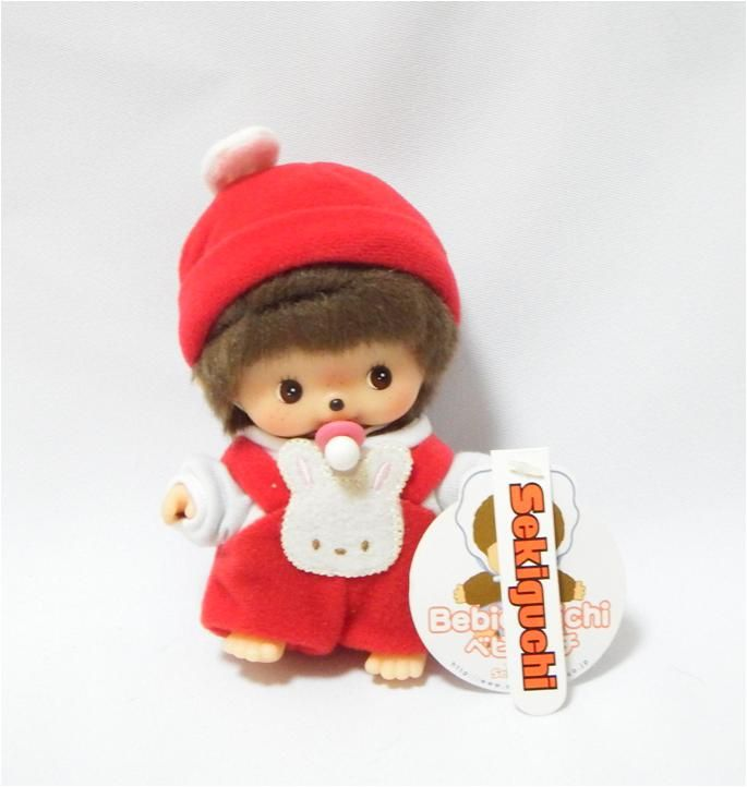 Bebichhichi 235950 - Bebichhichi Rompers Red Bunny. Authentic Bebichhichi doll from Sekiguchi. About 14cm. Suitable for child aged 6 years old and above. Ideal Birthday gift, Valentine's Day gift, Christmas gift, New Year gift, Children's Day gift and Housewarming gift! A favourite for Monchhichi & Bebichhichi doll collectors too!
