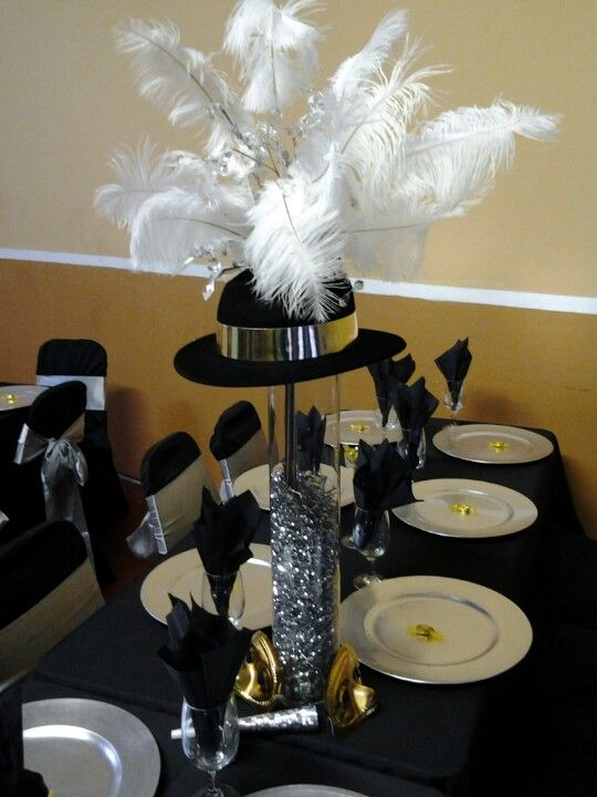 Top hat centerpieces could be replicated inexpensively