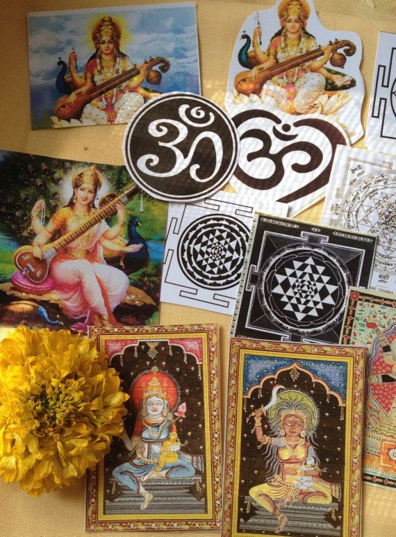 15 Hindu Sarasvati & Other Goddesses Yantras OMs  - 3 days left to order in time for xmas delivery <3 shop for good karma supports my work in rural india.