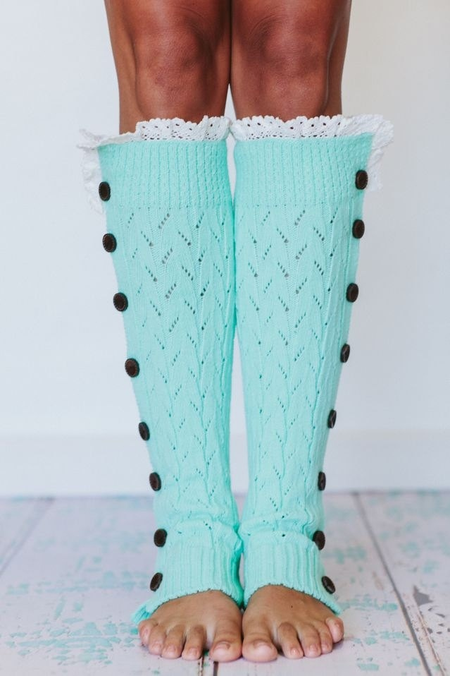 Lacy Leg Warmers Mint Blue Knitted Button Down Boot