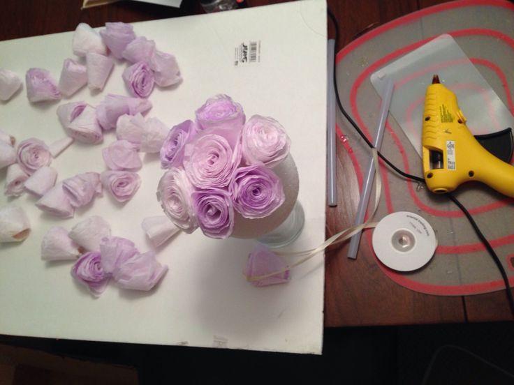 #coffeefilter #handdyed #paperroses #lavender #bridalshower