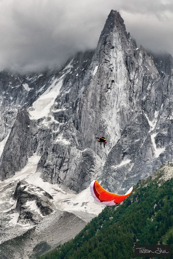 Try Paraponting - looking up at the peak of les drus. Not always this hairy! Chamonix Mont Blanc