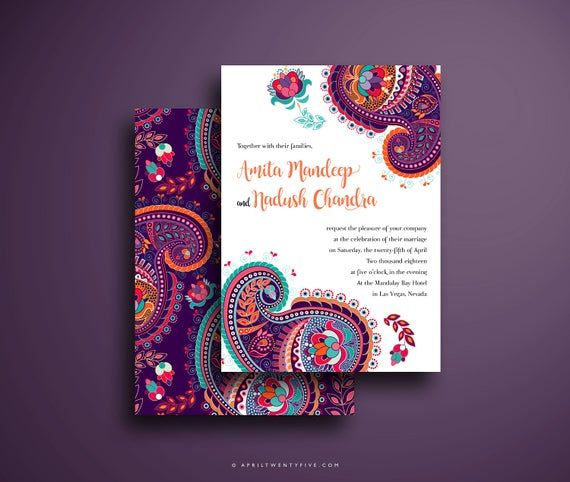 Indian Wedding Invitation Colorful And Festive Pink Purple Turquoise And Orange Paisley Design In 2021 Indian Wedding Invitations Indian Invitations Wedding Invitation Card Design