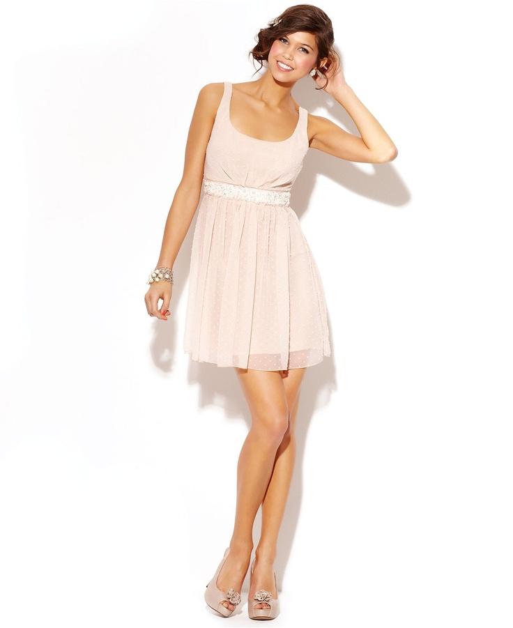 Jump Juniors Dress, Sleeveless Swiss-Dot Empire-Waist ...