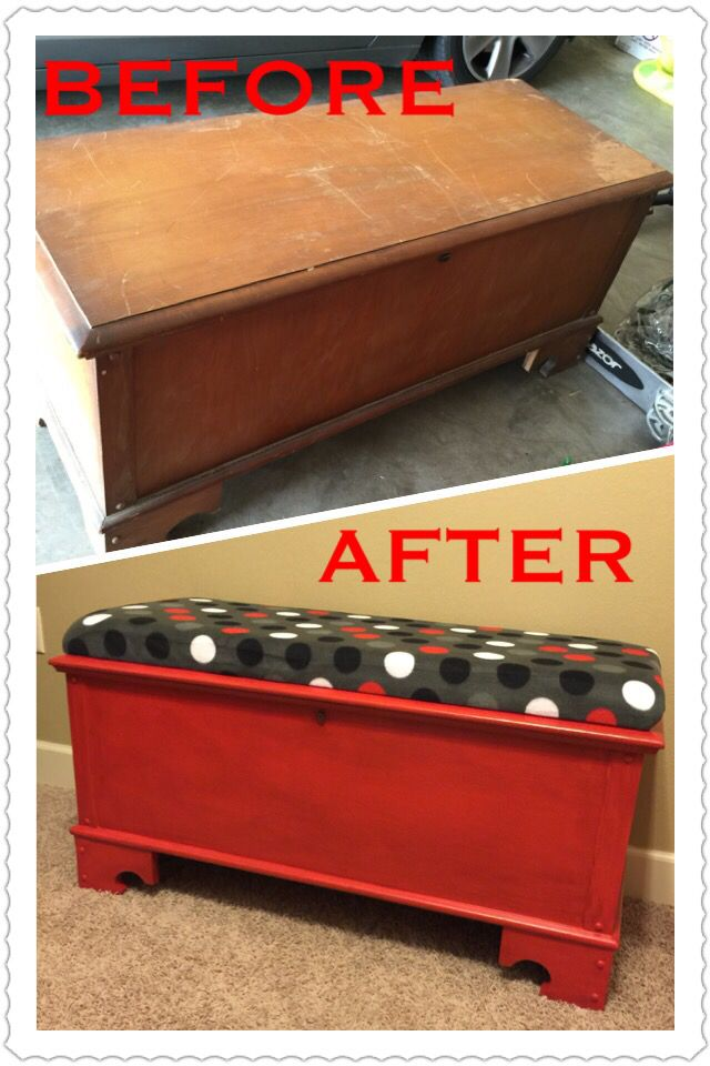 Cedar chest covered and re painted