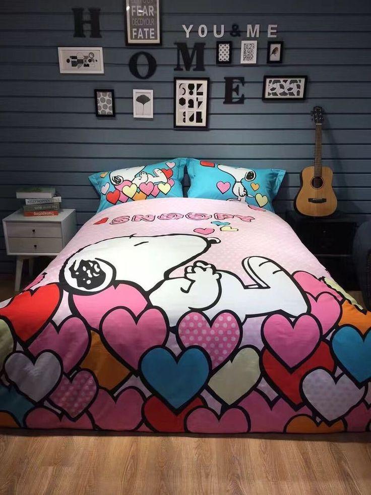 SNOOPY Peanut Cartoon Design PINK Color Cute QUEEN SIZE 4pc Cotton SHEET SET