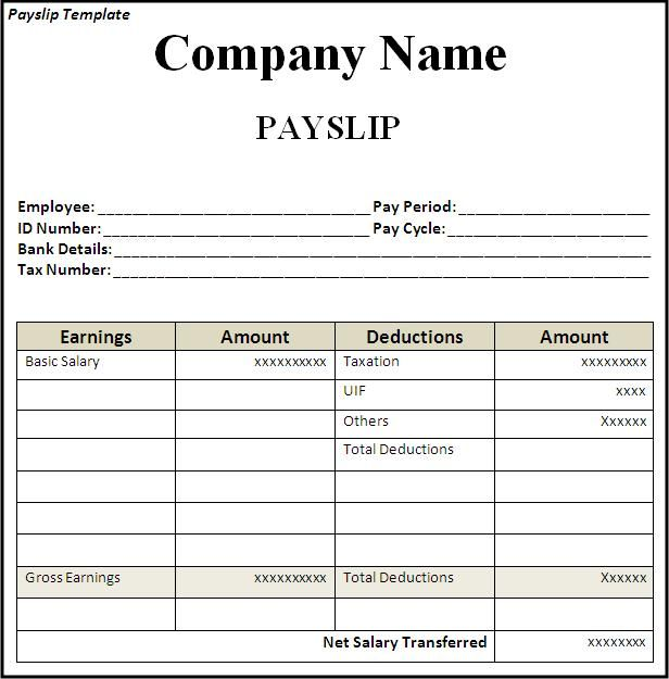 Editable Payslip Template Printable - Calendar