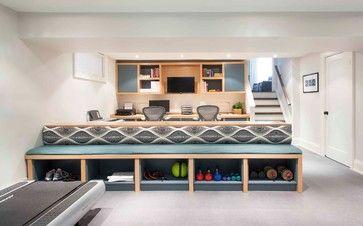 great home gym storage  Mississauga - contemporary - basement - toronto - Meghan Carter Design Inc