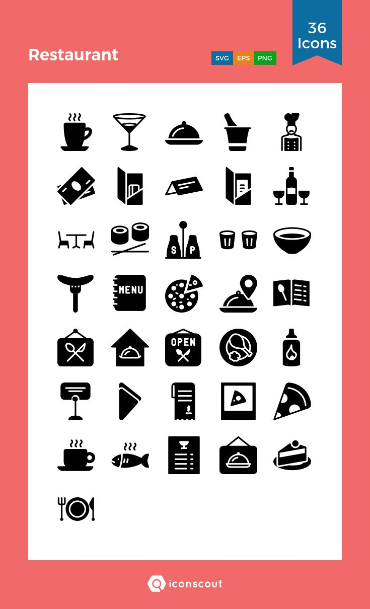 Restaurant   Icon Pack - 36 Solid Icons