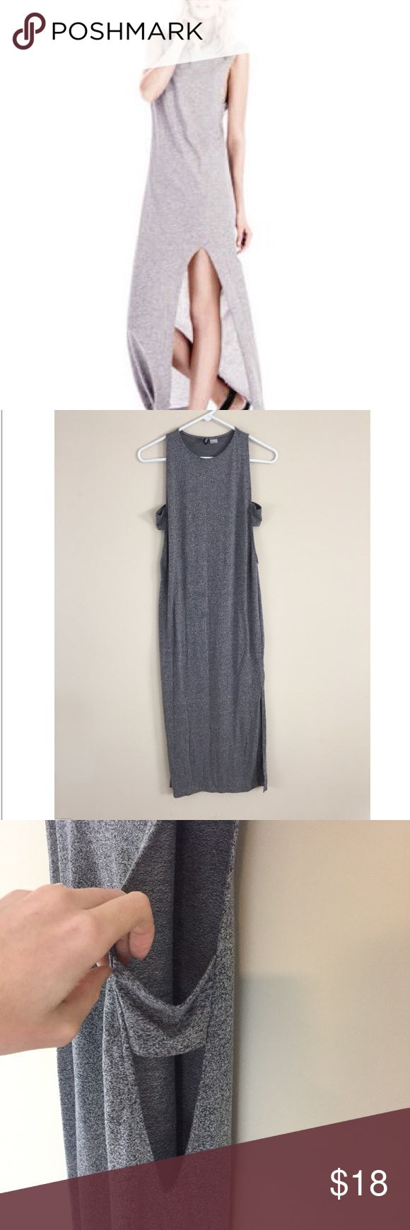 """Divided by H&M side slit muscle tank maxi dress Divided by H&M side slit muscle tank maxi dress. Love this marbled gray😍 lots of stretch. Size 8, runs smaller. 17""""-19"""" pit to pit and 51"""" long. Tags: festival fashion. Coachella clothing. H&M Dresses Maxi"""