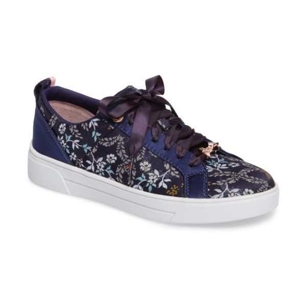 Women's Ted Baker London Sorcey Platform Sneaker ($160) ❤ liked on Polyvore featuring shoes, sneakers, dark blue kyoto print, logo shoes, bow shoes, ted baker sneakers, platform shoes and bow sneakers