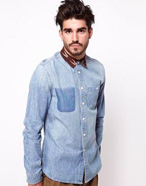 Image 1 ofASOS Denim Shirt With Contrast Collar