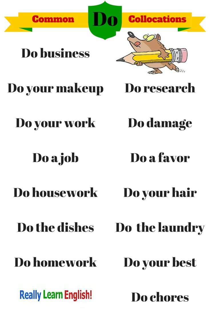 "Common English Collocations with ""Do"": If you want to learn to speak and write like a native speaker, you should learn common English collocations and phrases."