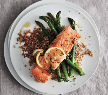 Lemony Baked Salmon With Asparagus and Bulgur - Simple, all baked in one pan.