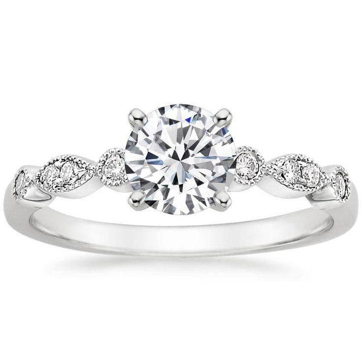 Tiara Vintage inspirierter Diamant-Verlobungsring im Birnenschliff – Platin (Einstellungspreis)