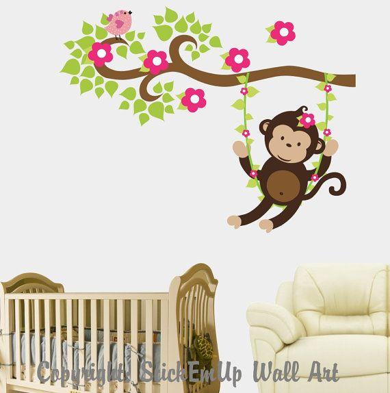 Best Babys Room Images On Pinterest Nursery Ideas Monkeys - Wall decals kids roomcartoon monkey climbing flower vine wall decals kids room nursery