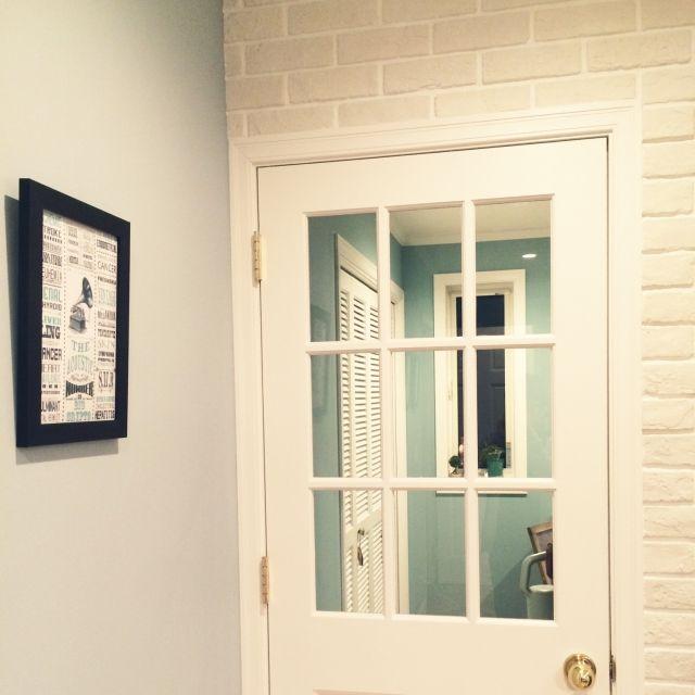 mtokさんの、ブリックタイル,swaro109vintage,ドア,ペンキ塗り,壁/天井,のお部屋写真