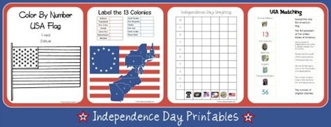 Independence Day Learning Fun! Teaching kids about the 4th of July. Free printables and more!!