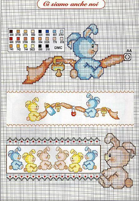 Bambini coniglietti ciuccio biberob1 for Ricami a punto croce per neonati